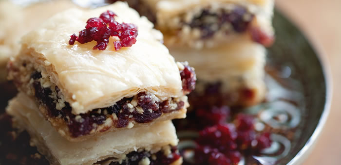 baklava cranberries top