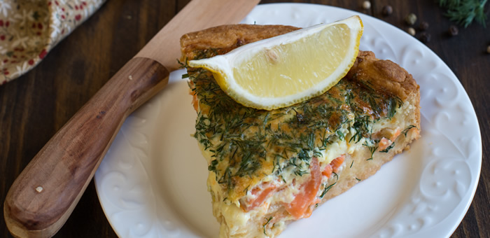 salmon quiche top